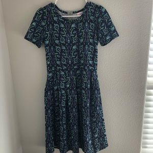 Lularoe blue floral print dress silver zipper